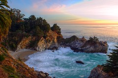DSC_0172 mcway falls at sunset hdr 850 (guine) Tags: ocean park beach water creek waterfall bigsur pacificocean shore farktography hdr juliapfeifferburnsstatepark mcwayfalls mcwaycreek qtpfsgui