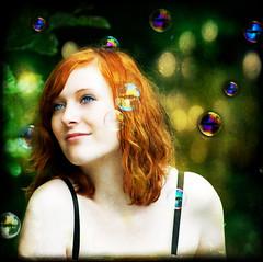 Sweet Dreams... (akal_flickr) Tags: blue portrait texture female eyes bubbles redhead dreamy