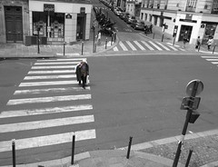 Paris 3 (AmyEAnderson) Tags: paris france europe man street crosswalk latin quarter june 2016 5th arondissement paint lines bw