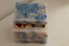 CAJA QUE PARECE DE MRMOL  HECHA DE CERA (ilmiomondoincera) Tags: azul casa artesanal rosa caja regalo cera rectangular marmol t decoracion