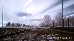 Train Track No. 02, II. (ntemptm) Tags: cloud cloudy day filters infrared neutraldensity nopeople outdoor landscape railroad track sky urban industrial train trees