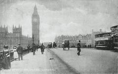 Westminster Bridge (Leonard Bentley) Tags: westminsterbridge palaceofwestminster bigben riverthames belgiansoldier ww1 1917 1910 belgium trams vanhoutenscocoa liptonstea beverage ststephensclub cannonrow london uk newscotlandyard