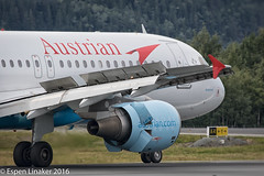 OE-LBL Austrian Airlines Airbus A320-214 - cn 2009 (Otertryne2010) Tags: 2016 airbus austrian enva norway trd trondheim vrnes airlines uefa europa league a320214 close wings flaps engine wien austria rbk