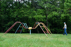 SpiderMan (grayit) Tags: spider forest haven green grass boy guy walking walk trees nature hat jeans shirt scary play playground colors red blue yellow outdoors outside sky abandoned tree grassy looking playing toy ride colorful wire electric power line run male kid teen teenager