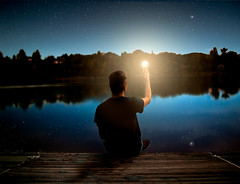 Hold On To Anything That Makes You Feel Alive (ethansumsion) Tags: lightbulb light stars night pond portrait conceptual trees star astrophotography sunset nature utah davis county boy dock sitting