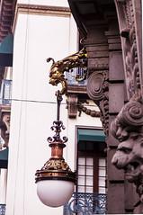 bronce farol (mariaschivster) Tags: bronce bronz light farol lamp streetlamp gargola gargoyle edificio building street centro downtown cdmx mexico cantera calle siglo xix golden dorado gold luz