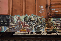 SEKA (TheGraffitiHunters) Tags: graffiti graff spray paint street art colorful freight train tracks benching benched seka boxcar