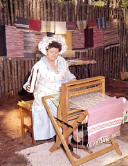 Eueline Jordan using a loom at the Florida Folk Festival- White Springs (State Library and Archives of Florida) Tags: florida white springs floridafolksprings euelinejordan looms textiles