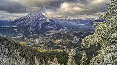The City of Banff from Sulphur Mountain (simonjoel96) Tags: travel alberta sulphur mountain explore snow hdr scenic scenery valley banff tourism beautiful city fall clouds sky trees forest park