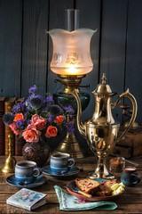 Coffee Time (memoryweaver) Tags: memoryweaver vase flowers antiques vintage wood bell tarnished polished coffeepot brass kerosene paraffin oillamp cranberry loaf cake coffee
