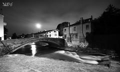 Cascatella sul Piovego e Ponte S.Agostino (Davide Anselmi) Tags: cascatella piovego ponte padova bianconero blackwhite bw bn notte davideanselmi 2016 italia