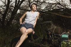 Kara (The BenMiller) Tags: model woman girl pinup abandoned field rust trees wood tractor legs bandanna headband beauty beautiful wisconsin dells wi nikon d200