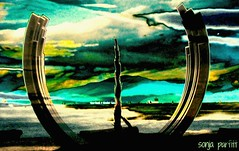 sculpture (Sonja Parfitt) Tags: vancouver bc manipulated layered beach sunset mountains ocean boats