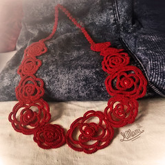 MiMan  Handmade Necklace  Roses (MiMan) Tags: rose autumn red necklace tatting knot lace thread cotton bead fashion jewelry jewel bijoux romantic