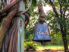 Ring the Bell (clarkcg photography) Tags: bell rope post firepitarea wisteria trees elm table chairs