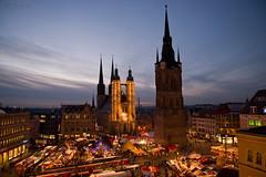 Christmas market Halle/Saale 2012 (MR-Fotografie) Tags: christmas light red tower church weihnachten licht nikon market weihnachtsmarkt nikkor turm roter marktkirche hallesaale d600 2485mm mrfotografie