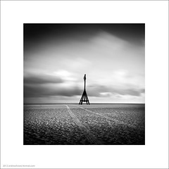 Line in the Sand II (Andrew James Howe) Tags: uk longexposure light sea sky blackandwhite seascape clouds liverpool square landscape mono sand fineart crosby merseyside anotherplace andrewhowe nikond5100
