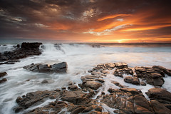 Arkwright ablaze (Luke Tscharke) Tags: ocean seascape green beach water clouds sunrise golden waterfall rocks action earlymorning shelf rays flowing hightide coolum leefilters pointarkwright 5d3 5dmark3