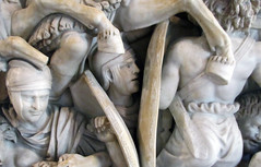 Ludovisi Battle Sarcophagus, detail with Roman framed by shields
