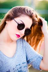 (Isai Alvarado) Tags: pink light sunset red portrait woman sun sunlight cinema blur green film girl fashion hair movie model nikon focus dof hand bokeh profile stock 85mm cine shades lips valeria cinematic d7000