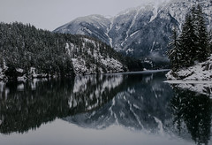 Diablo Winter (NW Vagabond) Tags: trees mist snow mountains reflections cascades diablolake