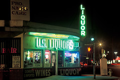 u.s. liquors. culver city, ca. 1999. (eyetwist) Tags: longexposure green film ex sign night contrast dark typography washington store losangeles los saturated nikon long exposure neon fuji graphic angeles sigma ishootfilm gone liquor velvia socal signage 50 fujichrome sigma2470f28exdg demolished f28 afterdark dg nikonn90s wines culvercity centinela typographic bulldozed emulsion rvp n90s vanished 2470 fujivelvia50rvp angeleno eyetwist ishootfuji npy scansfromthearchives eyetwistkevinballuff usliquors