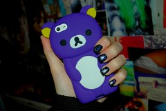 Rilakkuma (Celestri4l) Tags: bear anime purple quality space case nails nebula iphone rilakkuma rilakkumabear iphone5 tumblr