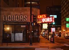 Cal's Bar (chicagogeek) Tags: chicago building sign bar night corner store neon shot loop south dive wells 1940s van liquors gentrification buren