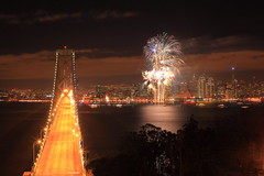 HappyNewYear (East Wind) Tags: sanfrancisco night cityscape fireworks baybridge newyearfireworks