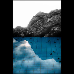 Borderlines (Giorgio Verdiani) Tags: sky italy mountain mountains alps slr water pool foglie clouds digital montagne reflex diptych italia nuvole zoom digitale olympus piscina cielo trento leafs acqua alpi montagna zuiko trentino 8mp evolt rivadelgarda e500 8megapixel trentinoaltoadige dittico