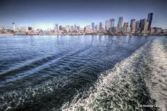 Seattle Views (Andrew E. Larsen) Tags: seattle skyline wake waves waterfront wave elliotbay papalars andrewlarsenphotography