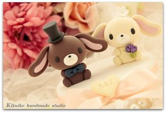 _MG_6041-001 (charles fukuyama) Tags: wedding flower cute rabbit bunny forest miniature couple sweet anniversary bowtie sweetheart custom bridalveil brideandgroom sculpted initials headdress cakedecoration bridalbouquet weddingcaketopper handmadewedding animalscaketopper bunnycaketopper rabbitscaketopper kikuike