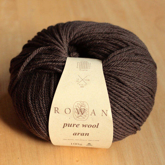 Rowan Pure Wool Aran yarn – shade 677 dark brown