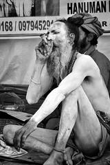 Naga Sadhu smoking