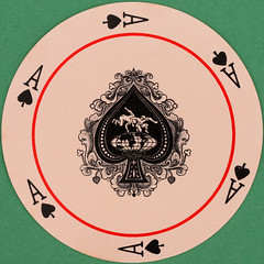 Quantas Round Playing Card Ace of Spades (Leo Reynolds) Tags: playing game canon eos iso100 deck card squaredcircle 60mm f80 playingcard carddeck 0008sec 40d hpexif 066ev xleol30x sqset088