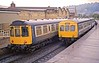 Classes 110 And 101 At Keighley HR Scan (Deepgreen2009) Tags: two wet station weather train diesel yorkshire 110 railway 101 powerful keighley dmu caldervalley