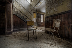 Two Chairs (Frank C. Grace (Trig Photography)) Tags: two abandoned stairs hospital dark insane chair nikon chairs decay empty haunted creepy urbanexploration asylum mental urbex trigphotography cautionwetwax frankcgrace d800e