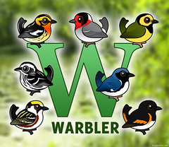 W is for Warbler (birdorable) Tags: cute bird warbler americanredstart hoodedwarbler wisfor birdorable