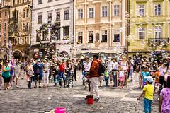 Prague Bubbles (bailes.joseph) Tags: prague czech republic bubbles colour street performer tourist old city magic circle
