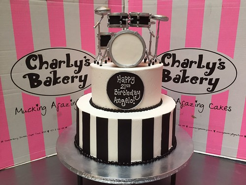 Awesome 2 Tier 21St Birthday Cake With 3D Drum Kit Set Topper In Black Personalised Birthday Cards Veneteletsinfo