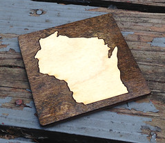 "Two-Tone Laser Cut ""Wis-Coaster"" (made by mauk) Tags: laserengraving wisconsin coaster mauk2"