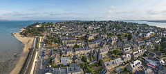 St Jacut de la Mer (west) (Ningaloo.) Tags: kap kite aerial france brittany saint jacut de la mer coast morning pano panorama town ville centre urban