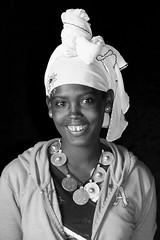 young girl Ethiopia_5762NB (ichauvel) Tags: girl fille jeunefille youngwoman visage face sourire smile beauté beauty foulard carf vertical portrait portraiture kombolcha ethiopie ethiopia northernethiopia ethiopiedunord afrique africa afriquedelest eastafrica voyage travel jour day exterieur outside blackandwhite noiretblanc amhara