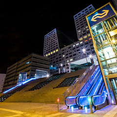 Utrecht City Hall and Station, The Netherlands (Mr. Ansonii) Tags: yellow thenetherlands holland utrecht randstad cityhall station utrechtstation utrechtcityhall nikon d3300 verticalpanoramic escalator elevator night lights longexposure          europe skyscrapers stairs
