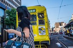 Tram (kmmanaka) Tags: japan nagasaki evening settingsun bicycle tram