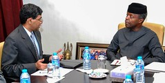 Vice President Prof. Yemi Osinbajo SAN and Mr. B.N. Reddy India High Commissioner, during a courtesy visit