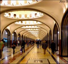 Mayakovskaya M (Aviva B) Tags: moscow city architecture russia russian 2016 art deco stalinist metro mayakovskaya station pre wwii soviet future alexander deyneka alexey dushkin