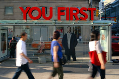you first (Ian Muttoo) Tags: dsc69251editshiftn shiftn toronto ontario canada gimp ufraw eatoncentre nordstrom motionblur street