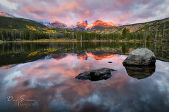Beautiful Morning in Rocky Mountain National Park (JusDaFax) Tags: sprague lake sunrise dawn rocks alpenglow clouds reflection glass forest mountains rocky colorado colorful fall autumn west western wanderlust