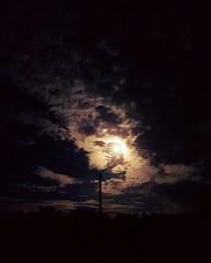 Le ciel aurait-il un visage?  Dommage pour les lignes lectriques... joies de la ville... (ChatKra) Tags: ciel sky moon lune nuages clouds night nuit light lumire visage face bretagne finistre rosporden mystre mystery